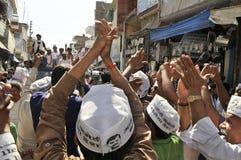 Arvind Kejriwal που κάνει εκστρατεία για το Δρ Kumar Vishwas στοκ φωτογραφία