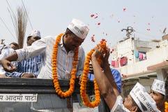 Arvind Kejriwal being garlanded. Stock Photos