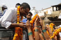 Arvind Kejriwal being garlanded. Royalty Free Stock Photography