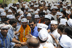 Arvind Kejriwal being mobbed. Stock Photography