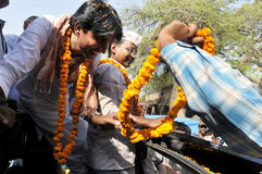 Arvind Kejriwal campaigning for Dr.Kumar Vishwas . Royalty Free Stock Photos