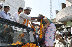 Arvind Kejriwal campaigning for Dr.Kumar Vishwas . Stock Photo