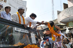 Arvind Kejriwal campaigning for Dr.Kumar Vishwas . Stock Photography