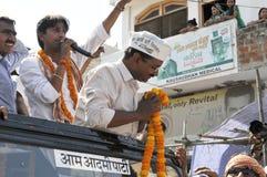Arvind Kejriwal campaigning for Dr. Kumar Vishwas . Stock Photography