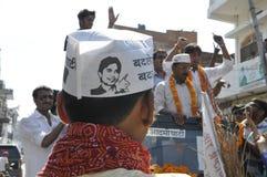 Arvind Kejriwal campaigning for Dr.Kumar Vishwas . Stock Photography