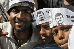 Arvind Kejriwal, der für Dr. kämpft Kumar Vishwas Lizenzfreie Stockfotos