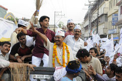 Arvind Kejriwal and Kumar vishwas during a political rally. Royalty Free Stock Photo