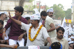 Arvind Kejriwal and Kumar vishwas during a political rally. Stock Photos