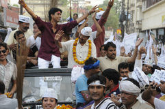 Arvind Kejriwal and Kumar vishwas during a political rally. Stock Image