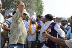 Arvind Kejriwal shaking hands. Stock Images
