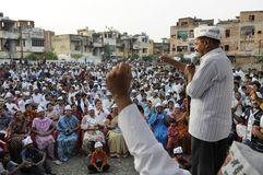 Arvind Kejriwal speaking in an election rally Royalty Free Stock Images