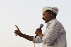 Arvind Kejriwal speaking in an election rally Stock Photography