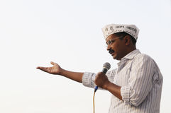 Arvind Kejriwal speaking in an election rally Royalty Free Stock Photo