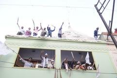 Arvind Kejriwal- und Kumar-vishwas während einer politischen Sammlung Lizenzfreie Stockfotos