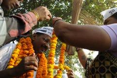 Arvind Kejriwal under ett val samlar i Indien Arkivfoton
