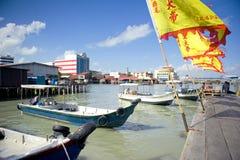 Arvstyltahus av tuggningklanbryggan, George Town, Penang, Malaysia Arkivfoto