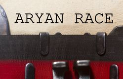Aryan race concept. Typed on an old vintage paper with od typewriter font Royalty Free Stock Image