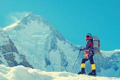 Arywista dosięga szczyt halny szczyt Sukces, wolność i szczęście, osiągnięcie w górach Wspinaczkowy sporta pojęcie Zdjęcia Royalty Free