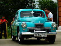 ARZAMAS, RUSSIA, il 3 luglio 2016: Vecchia retro automobile sulla mostra Immagini Stock Libere da Diritti