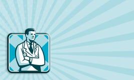 Arzt Arzt Stethoscope Standing Retro Stockbild