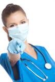 Arzt zeigt Finger an Lizenzfreie Stockfotos