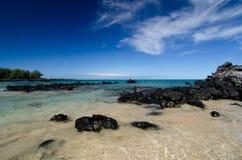 As águas calmas atrás do basalto preto balançam na praia de Puako Imagem de Stock