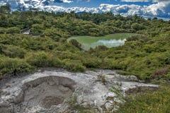 As águas de banho de Hatupatu no vale geotérmica de Rotorua, Fotografia de Stock Royalty Free