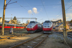 As áreas para trens em halden a estação de estrada de ferro Imagem de Stock Royalty Free