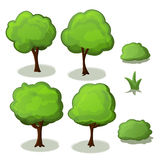 As árvores ajustaram desenhos animados verdes da ilustração ilustração royalty free