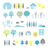 As árvores ajustaram o inverno ilustração do vetor