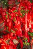 As árvores altas são decoradas completamente com fitas vermelhas muitas fitas vermelhas amarradas às árvores Ásia Imagens de Stock Royalty Free