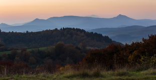 As árvores aproximam o vale nas montanhas Fotografia de Stock Royalty Free
