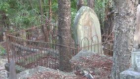 As árvores competem com as lápides no cemitério dilapidado coberto de vegetação filme