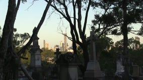 As árvores competem com as lápides no cemitério dilapidado coberto de vegetação vídeos de arquivo