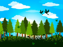 As árvores da mola representam a arborização e o campo das copas de árvore ilustração royalty free
