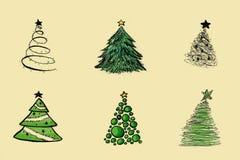 As árvores de Natal ajustaram-se Foto de Stock