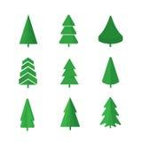 As árvores de Natal ajustaram-se Fotografia de Stock Royalty Free