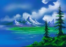 As árvores de Natal com lago e os montes pintaram a paisagem ilustração royalty free
