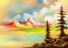 As árvores de Natal com lago e os montes pintaram a paisagem ilustração do vetor