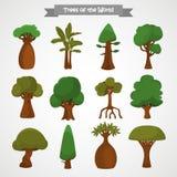 As árvores dos ícones da cor do mundo ajustaram-se para a Web e o projeto móvel Fotografia de Stock
