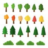 As árvores e os arbustos dos desenhos animados embalam os ícones isolados no fundo branco Ilustração do vetor ilustração royalty free