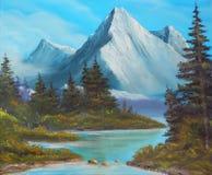 As árvores no banco do lago da montanha, representam uma pintura de óleo em uma lona Fotografia de Stock Royalty Free