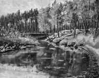 As árvores verde-clara da pintura a óleo original preto e branco são refletidas na água A paisagem é verão na água nave riv Foto de Stock