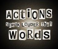 As ações falam mais ruidosamente do que palavras ilustração stock