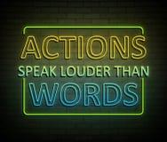 As ações falam mais ruidosamente do que palavras ilustração do vetor