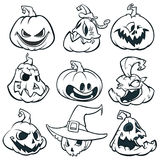 As abóboras assustadores da lanterna do ` de Jack O dos desenhos animados ajustaram-se esboçado Ilustração do vetor de Halloween ilustração royalty free