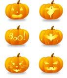 As abóboras de Halloween ajustaram-se Fotografia de Stock
