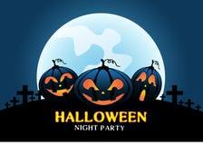 As abóboras felizes de Dia das Bruxas na noite da luz de lua azul party o vetor do festival da celebração ilustração do vetor