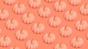 As abóboras no baixo estilo poli no fundo coral deram laços na animação 3D ilustração stock
