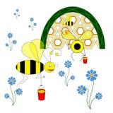 As abelhas engraçadas recolhem o néctar das flores e levam-no à colmeia ilustração royalty free